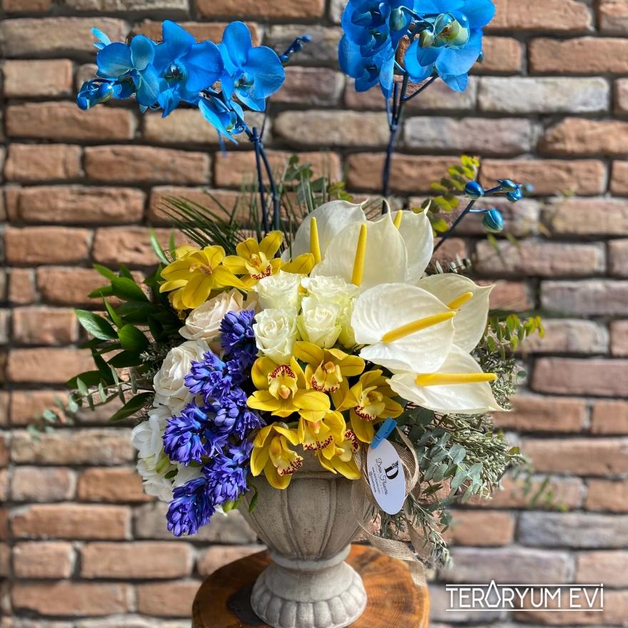 Seramikte Mavi Orkide Aranjman